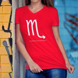 Donna moda cotone T-Shirt - segno zodiacale Scorpio, 40-Rosso