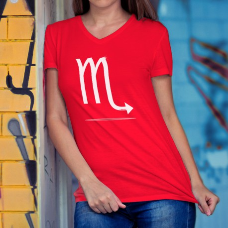 Women's Fashion cotton T-Shirt - Scorpio astrological sign, 40-Red