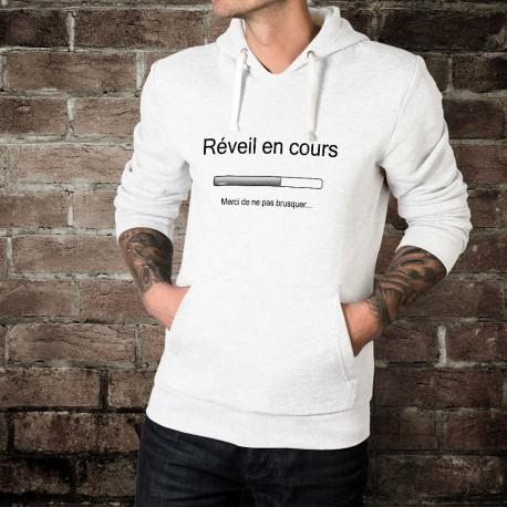 pull-over humoristique blanc à capuche mode homme - Réveil en cours