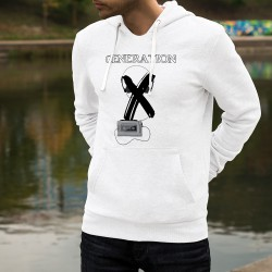 Generation X ☀ Men's Funny Hoodie Walkman audiotape