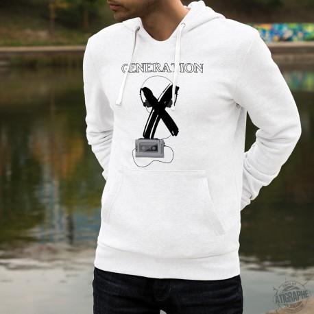 Sweat humoristique blanc à capuche mode homme - Génération X