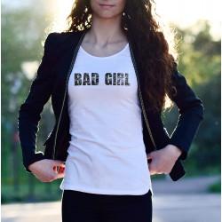 Bad Girl ★ mauvaise fille ★ T-Shirt mode dame, texte en lettres noires scratchées