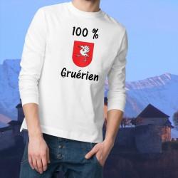 Herren Sweatshirt - 100 pourcent Gruérien, White