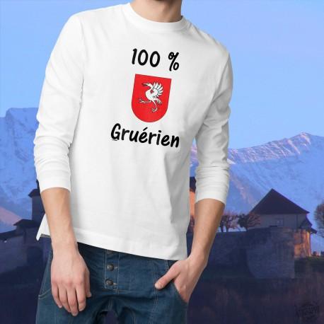 Sweat humoristique mode homme - 100 pourcent Gruérien, White