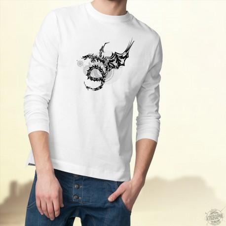 Men's Tribal Sweatshirt - Dragon Universe, White