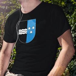 Uomo cotone T-Shirt - Stemma del cantone di Argovia, 36-Nero
