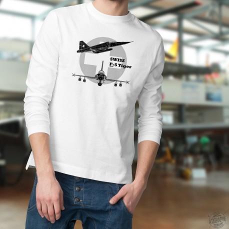 Men's Sweatshirt - Fighter Aircraft - Swiss F-5 Tiger, White