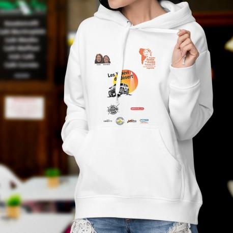 Sweatshirt blanc à capuche mode dame - Yenévi du désert