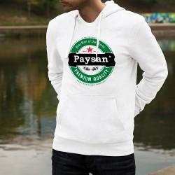 Pull blanc à capuche - Paysan, Best Man of the World (meilleur homme du monde) - logo bière Premium Quality, deux tracteurs