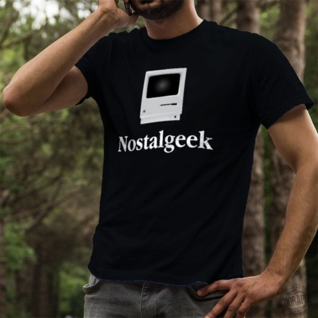 Herren Mode Baumwolle T-Shirt - Nostalgeek Macintosh, 36-Schwarz