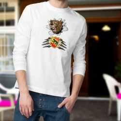 Men's funny fashion Sweatshirt - Bern Bear and coat of arms, White
