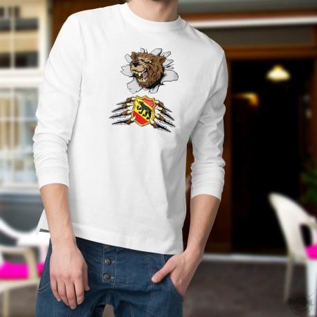Herren Mode lustige Pullover - Berner Bär und Wappen, White