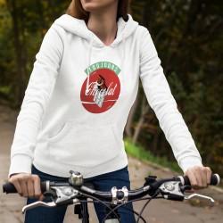 Toujours Chocolat ★ Pull-over blanc à capuche mode dame inspiré de Always Coca-cola