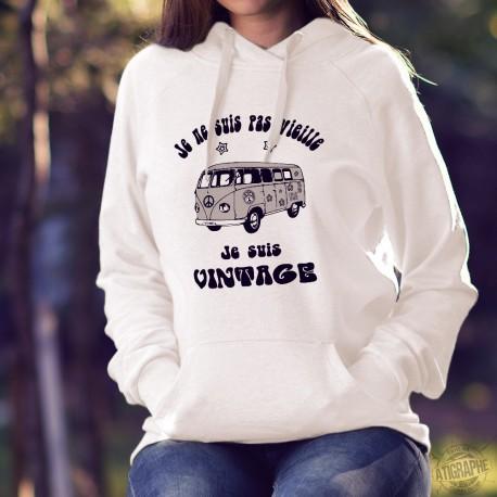 VW Bus hippie ✿ Flower Power ✿ Je ne suis pas vieille, je suis vintage ✿ Pull humoristique blanc à capuche dame