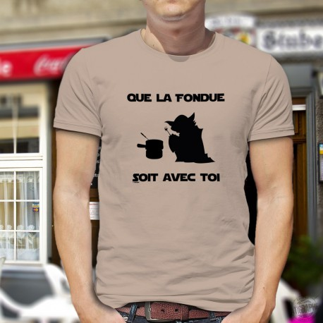 Uomo T-Shirt umoristica - Que la Fondue soit avec Toi