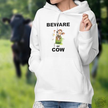 Beware of Cow ★ Vorsicht vor Kuh ★ Frauenmode Kapuzenpulli mit ener Anpassung des Zitats ★ Beware of Dog (vorsicht vor dem Hund)