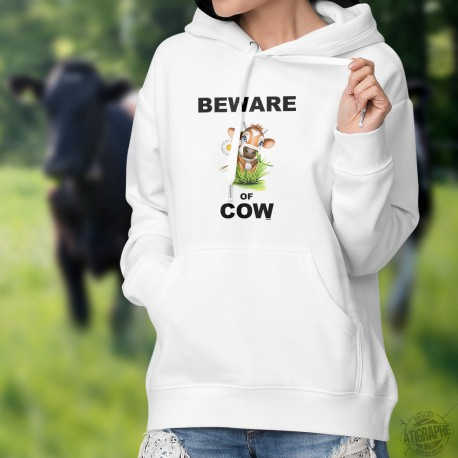 Sweatshirt blanc à capuche mode dame - Beware of Cow