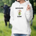 Beware of Cow ★ attention à la vache ★ Pull à capuche dame