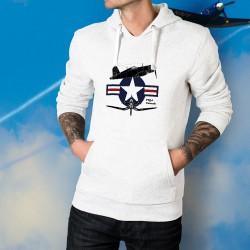 Uomo Felpa bianco a cappuccio - aereo da caccia - F4U-1 Corsair