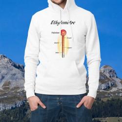 Sweatshirt blanc à capuche - Ethylomètre valaisan