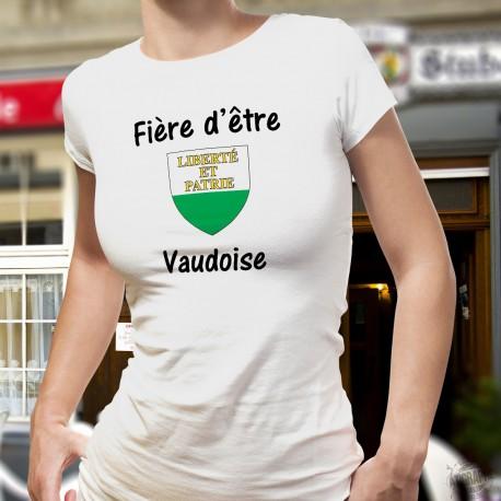 Fière d'être Vaudoise ★ T-Shirt mode dame - écusson, drapeau du canton de Vaud