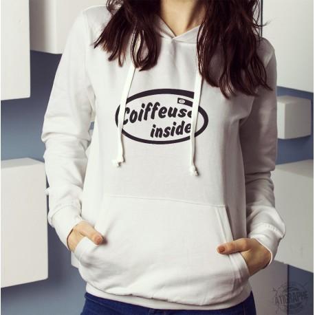 Sweatshirt blanc à capuche dame - Coiffeuse inside