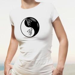Damenmode T-Shirt - Yin-Yang - Tribal Wolf Kopf - Tätowierungszeichnung eines Stammeswolfkopfes innerhalb Yin und Yang