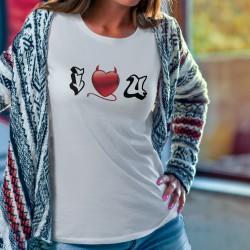 T-shirt mode dame - I LOVE YOU (Je t'aime) - coeur de petit démon tentateur et lettres graffiti