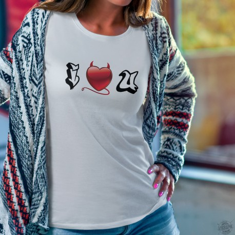 Donna moda T-shirt - I LOVE YOU - cuore di demone graffiti