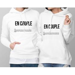 Sweatshirt blanc à capuche humoristique DUOPACK - EN COUPLE