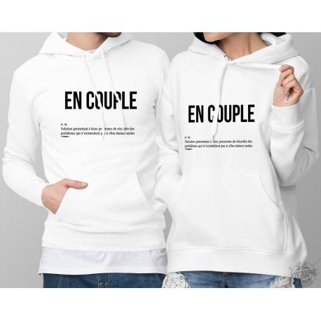 Pulls-over blanc à capuche - DuoPack - EN COUPLE, solution pour résoudre des problèmes... - définition pour homme et femme