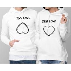 Sweatshirt blanc à capuche humoristique DUOPACK - True Love