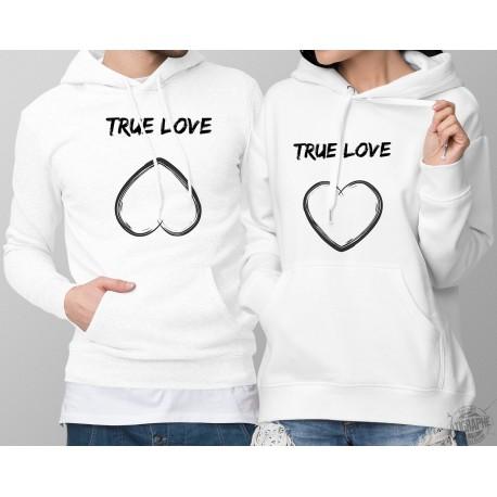 Pulls humoristique blanc à capuche DUOPACK - True Love, femme et homme, l'amour vrai