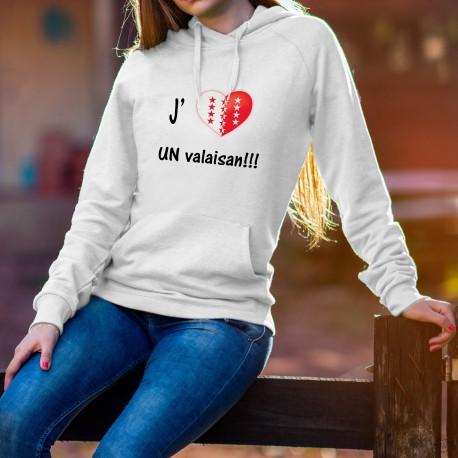 Pull à capuche mode dame - J'aime UN valaisan - coeur Valais