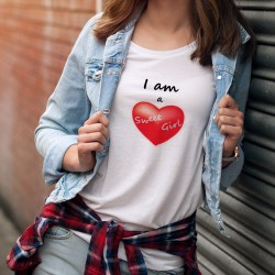 Damenmode T-shirt - I am a Sweet Girl (Ich bin ein süßes Mädchen) - rotes Herz