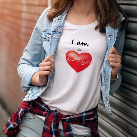 I am a Sweet Girl ❤ Je suis une fille douce ❤ T-shirt mode dame coeur rouge