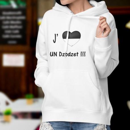 Sweatshirt blanc à capuche mode dame - J'aime UN Dzodzet