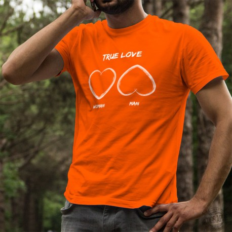 Uomo cotone T-Shirt - True Love, 44-Arancio