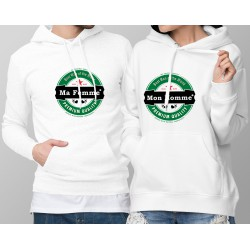 Sweatshirt blanc à capuche humoristique DUOPACK - L'Amour Heineken