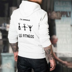 Sweat bianco a cappuccio - J'ai commencé le Fitness
