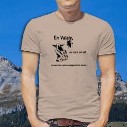 En Valais, on boira du lait quand les vaches mangeront du raisin ! ★ T-Shirt humoristique homme