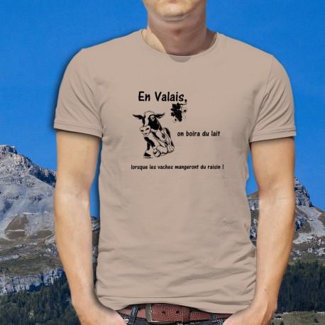 T-Shirt humoristique mode homme - Boire du lait en Valais, November White