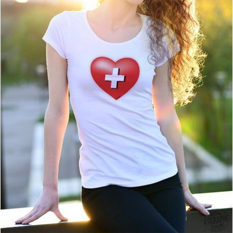 Women's fashion T-Shirt - Red heart with Swiss cross, Swiss flag