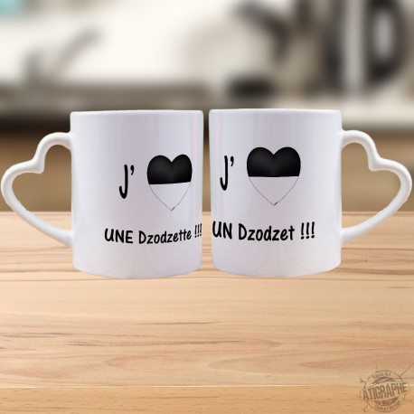 Tasses Partenaires DUO - J'aime une Dodzette, un Dzodzet