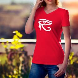 Frauen Mode Baumwolle T-Shirt - Horus Auge, 40-Rot