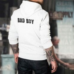 Bad Boy ★ Mauvais garçon ★ Pull humoristique blanc à capuche homme pour faire ressortir son côté mauvais garçon