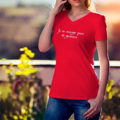 T-shirt mode coton Dame - Je ne mange pas de graines, 40-Rouge