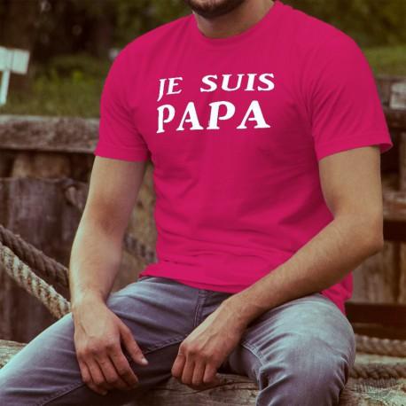Men's cotton T-Shirt - Je suis PAPA, 57-Fuchsia