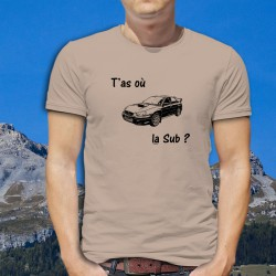"T'as où la Sub ? ★ Subaru Impreza ★ T-Shirt humoristique mode homme - variante Subaru de la version ""T'as où les vaches ?"""