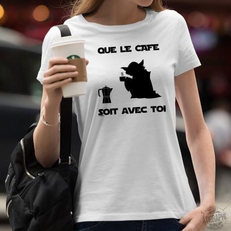 T-shirt Yoda humoristique mode dame - Que le Café soit avec Toi